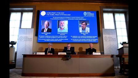 યુએસ, જાપાનીઝ વૈજ્ઞાનિક સ્યુકુો મનાબે, જર્મનીના ક્લાઉસ હેસલમેન અને જ્યોર્જિયો પેરસીને નોબલ પ્રાઈઝ ( તસવીરઃAFP)