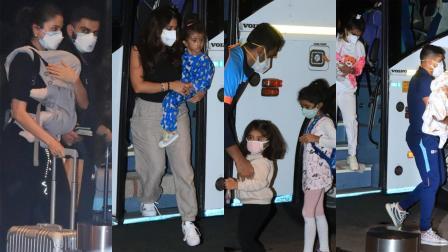 એરપોર્ટ જતા ભારતીય ક્રિકેટરો પત્ની અને બાળકો સાથે