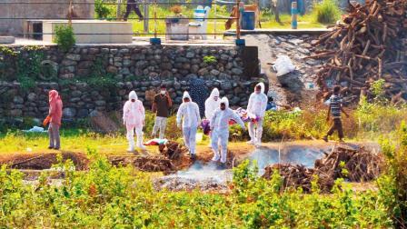 શનિવારે સિલિગુરી નજીકના સ્મશાનગૃહમાં પીપીઈ કીટ પહેરીને અંતિમવિધિ કરતા લોકો (તસવીરઃ એએફપી)