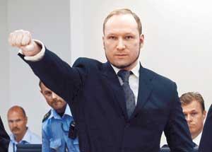 નૉર્વેમાં ૭૭ લોકોની હત્યા કરનાર બ્રેવિકને ૨૧ વર્ષની જેલની સજા